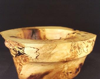 Shagbark hickory wooden decorative bowl