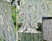 Set of 2 Floral Curtains, Curtain Panels, each: 193 x 134 cm / 75,9'' x 52,7'' Cotton Fabric, White Green Red Floral, Scandinavian #2-22