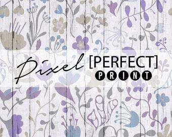 "4ft x 4ft ""Flowered Fence"" Vinyl Backdrop / Vinyl Backdrops / Photography Backdrop / Fence Backdrop / Purple Backdrop / Flowers (PP784)"