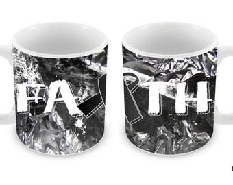 Melanoma Cancer Awareness Faith Ribbon 11oz Ceramic Coffee Mug