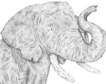 Pointillism illustration Elephant