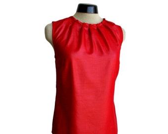 Red chiffon top, folded neckline, sleeveless