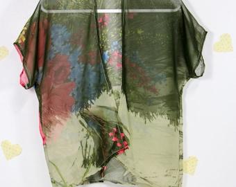 Green Floral Kimono / Baby Kimono