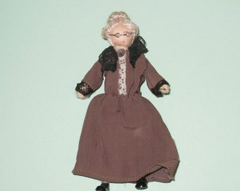 Vintage Grecon Little-People Dollhouse Doll - Grandmother Granny - Made in England
