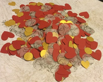 Heart Confetti  for Weddings, Valentine's Day, Birthday, Card Making, Table Decoration, Red Hearts, Gold Hearts, Black and White Vellum