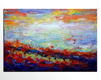 Abstract Canvas Art, Large Painting, Abstract Canvas Art, Framed Art, Abstract Art, Impasto Painting, Landscape Wall Art, Original Painting