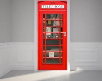 "Door Wall Sticker British Phone Booth inside telephone - Self Adhesive Peel & Stick Repositionable Fabric Mural 31""w x 79""h (80 x 200cm)"