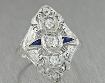 Antique Art Deco 14k White Gold .51ct Diamond Sapphire Engagement Ring