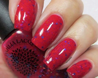 Currant Red Crelly with Holo Glitter Nail Polish by Black Dahlia Lacquer - Wargrave Geraniums