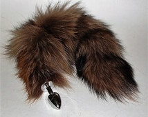 Tail Butt Plug, BEIGE dyed Silver Fox Tail, MATURE, Available Permanently Attached in 3 Plug Sizes, Pet Play Tail, CosPlay, bdsm