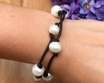 Leather Pearl Wrap Bracelet