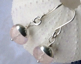Pink Aquamarine Morganite Earrings in Sterling Silver - morganite earrings, pink aquamarine, pink gemstone, natural gemstone