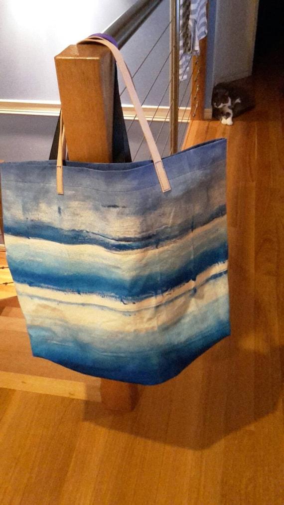 Hand Painted Canvas Beach Bag