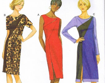 Easy Fitted Asymmetrical Color Block Dress Butterick 5852 Sewing Pattern Size 6 8 10 12 14