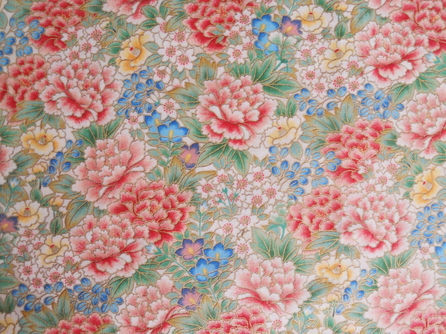Asian cotton fabric. Screen Print D1296. Japanese Floral
