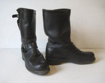 "GEORGIA Motorcycle Biker Boots Size 8.5 E Hight 12"" Men's Rockabilly Shoes Leather Black VINTAGE SH325"