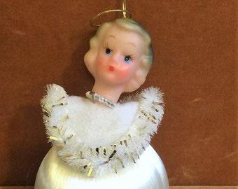 Pair of Vintage Satin Sheen Hanging Angel Christmas Ornaments in Original Packaging