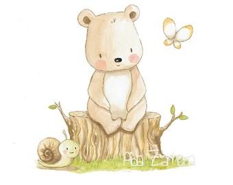 "Children's Art ""TEDDY BEAR"" Archival Print, Nursery Illustration."