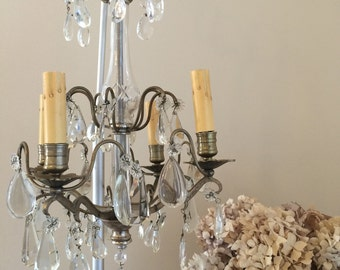 Antique French Crystal Bronze Chandelier