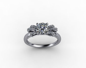 Platinum Engagement Ring with Bow Motif