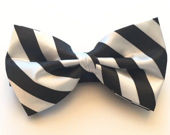 Black and White striped pre-tied bow tie.