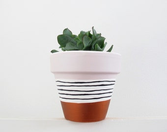 Copper & Pink Hand Painted Plant Pot