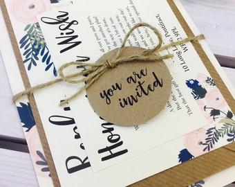 1 Rustic 'Chloe' floral Style wedding bundle invitation sample with twine & tag