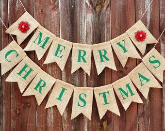 Merry Christmas Burlap Banner, Burlap Merry Christmas Banner, Holiday Banner, Poinsettia Banner