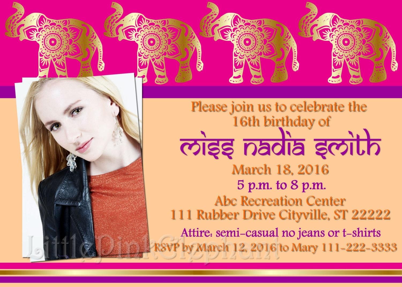 Indian birthday invitations Bollywood party invitations