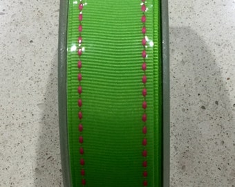 Grosgrain ribbon 22mm  - lime green with fuchsia stitching, 25m roll - FREE SHIPPING !