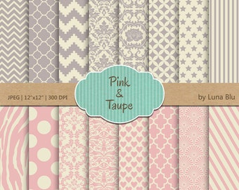 """Pink and Taupe Digital Paper: """"Pink and Taupe"""" scrapbook paper pack, vintage pink, with chevron, damask, quatrefoil, stripes, hearts, stars"""