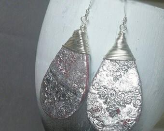 Silver drops, Polymer clay jewelry, Polymer clay earrings, Silver Bohemian earrings, Beautiful earrings, Unique silver earrings, Boho drops