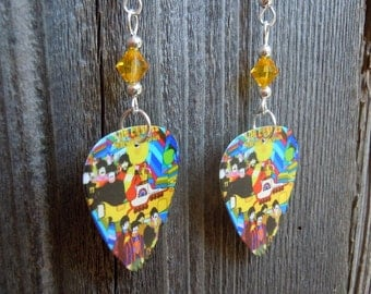 The Beatles Yellow Submarine Guitar Pick Earrings with a Yellow Crystal