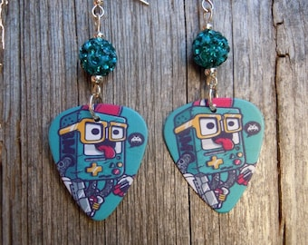 Gameboy Kid Guitar Pick Earrings with Teal Pave Beads