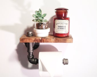 Industrial Bathroom toilet paper holder - Rustic decor - Steampunk bathroom holder-Unique Bathroom shelf-Pipe bathroom holder-Farmhouse