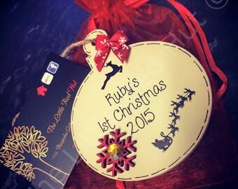 Personalised Mini Wooden Handmade Christmas Tree Bauble