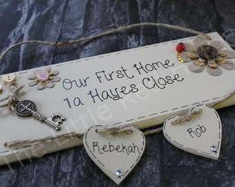 Bespoke/personalised handmade wooden plaque, First Home/New Home/Housewarming Gift with TWO hearts