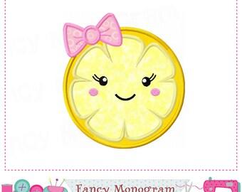 Lemonade applique,Lemonade embroidery,Lemonade design,Lemon slice face,Girl applique,Lemonade,Summer applique.-04