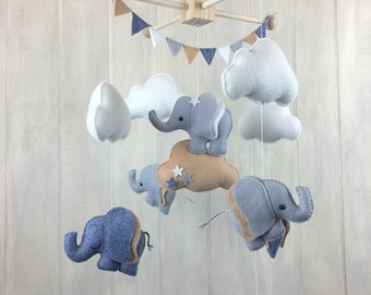 Baby mobile - Elephant mobile - cloud mobile - nursery mobile - baby crib mobile - baby mobiles - elephants
