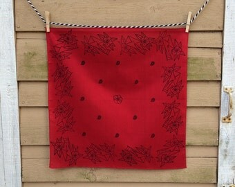 "22"" Square Red Bandana - Handprinted Dear John Letter"