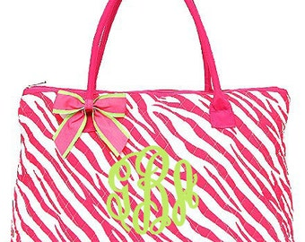 "Personalized Quilted Zebra Print Tote with Detachable Bow - Large 18"" Pink and White Tote - QZ303-FUSFUS"