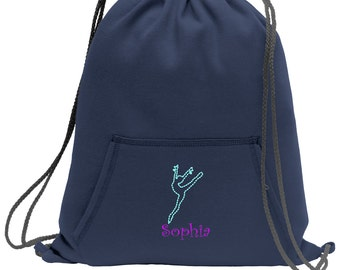Sweatshirt material cinch bag with front pocket and embroidered spirit design - Dance2 - Multiple Colors - Camouflage - BG614