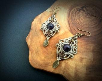 Amethyst macrame earrings. Bohemian jewelry. Boho chic. Gemstone earrings. Healing Jewelry. Handcrafted Natural Beauty. Unique design.