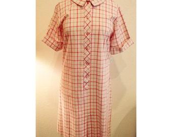 60's hot pink plaid dress | mad men dress | vintage pink plaid dress | Large
