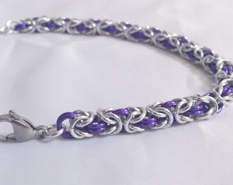 Chainmail Bracelet - Silver and Purple Byzantine Weave