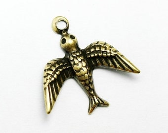 CLEARANCE 10 Pairs Tiny Gold Bird Charms, Gold Plated Petite Bird Jewelry Supplies, Made in USA, #TB118G