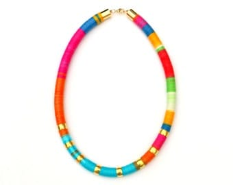 Colorful Statement Necklace, Big and Bold Necklace, Chunky Necklace, Textile Necklace, Modern Jewelry, Rope Necklace, Statement Jewelry