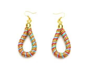 Colorful Fabric Rope Earrings, Textile Earrings, Statement Earrings, Boho Earrings, Fiber Earrings, Textile Jewelry, Colorful Jewelry