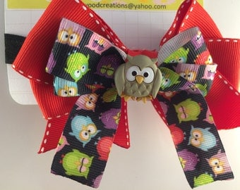 Red owl headband with owl center