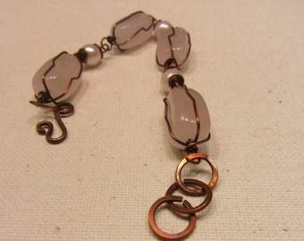 Pink Agate-Pearl Bracelet/ Chunky Bracelet/ Agate Stone Bracelet/Copper wire